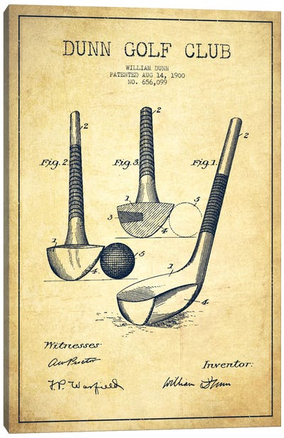 Dunn Golf Club Vintage Patent Blueprint Canvas Art Print