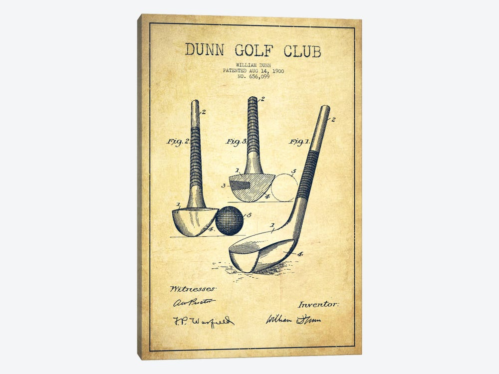 Dunn Golf Club Vintage Patent Blueprint by Aged Pixel 1-piece Canvas Art