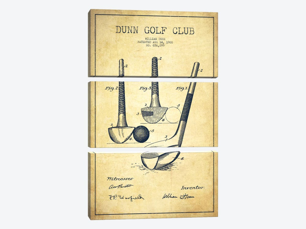 Dunn Golf Club Vintage Patent Blueprint by Aged Pixel 3-piece Canvas Wall Art