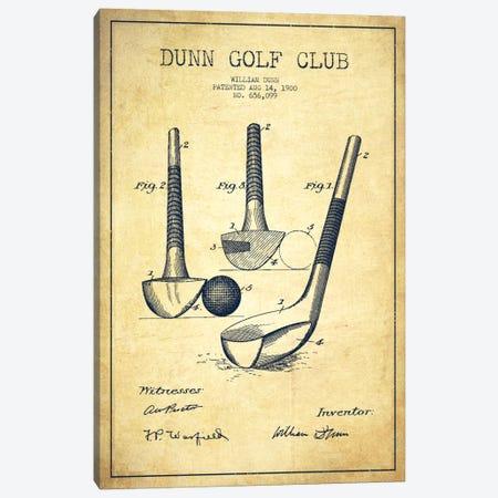 Dunn Golf Club Vintage Patent Blueprint Canvas Print #ADP2169} by Aged Pixel Art Print