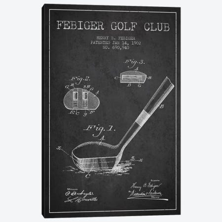 Febiger Golf Club Charcoal Patent Blueprint Canvas Print #ADP2170} by Aged Pixel Canvas Artwork