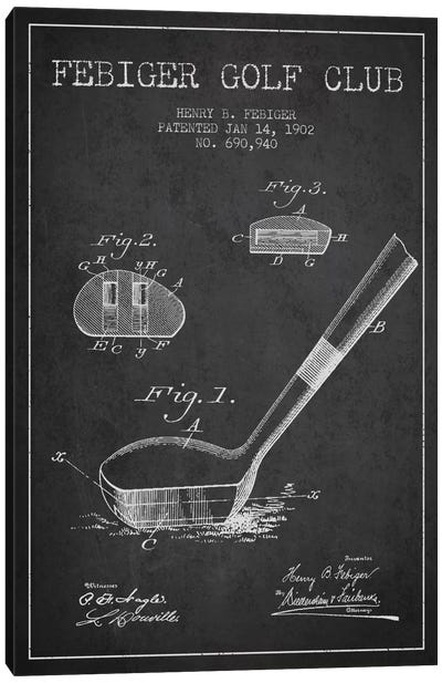 Febiger Golf Club Charcoal Patent Blueprint Canvas Art Print