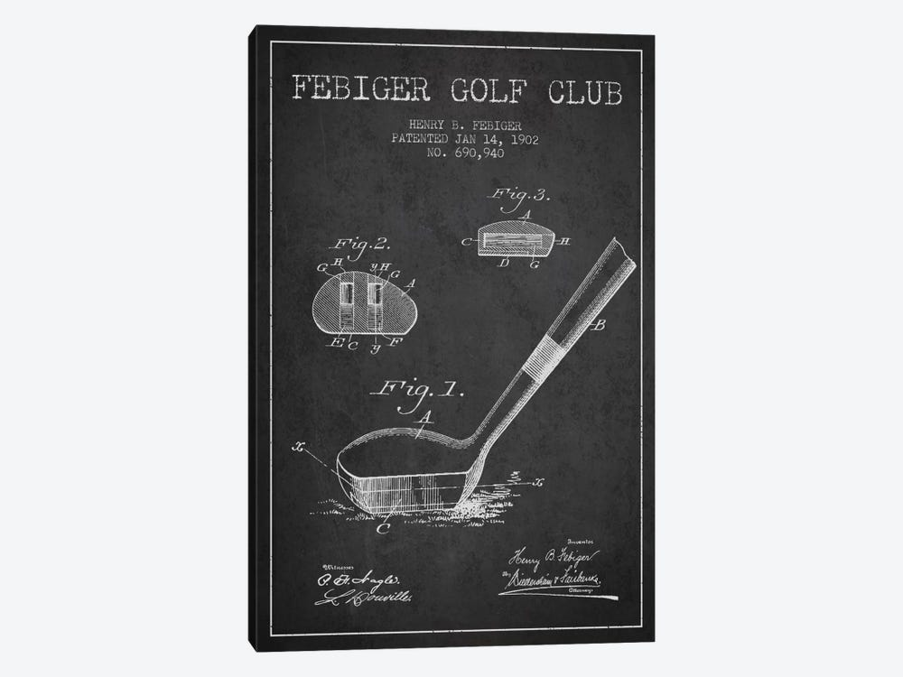 Febiger Golf Club Charcoal Patent Blueprint by Aged Pixel 1-piece Canvas Wall Art