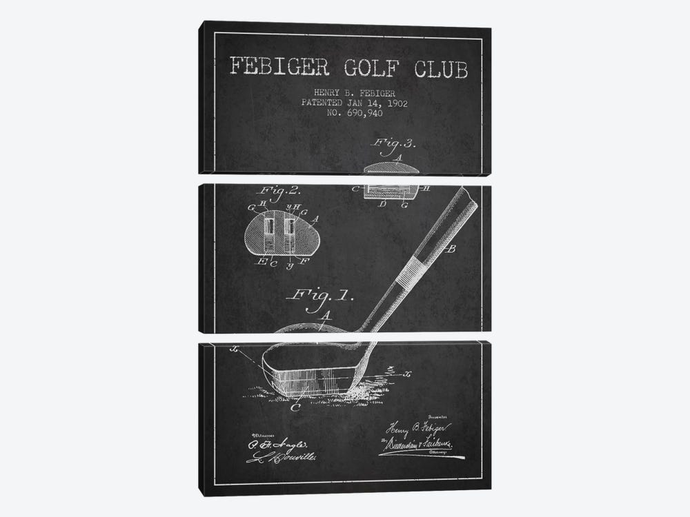 Febiger Golf Club Charcoal Patent Blueprint by Aged Pixel 3-piece Canvas Wall Art