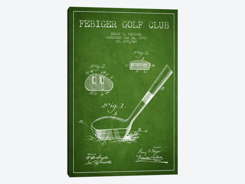 Febiger Golf Club Green Patent Blueprint by Aged Pixel 1-piece Canvas Print