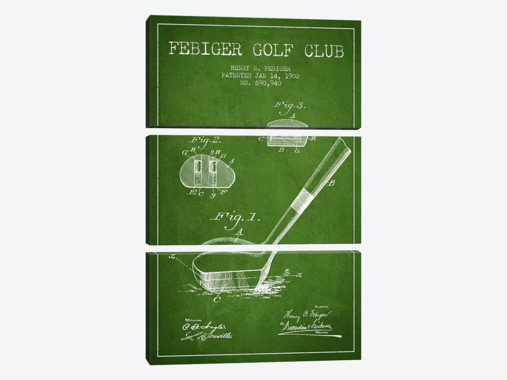 Febiger Golf Club Green Patent Blueprint by Aged Pixel 3-piece Canvas Print