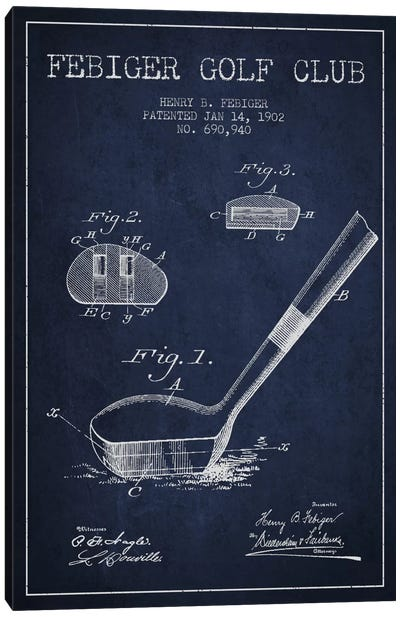 Febiger Golf Club Navy Blue Patent Blueprint Canvas Art Print