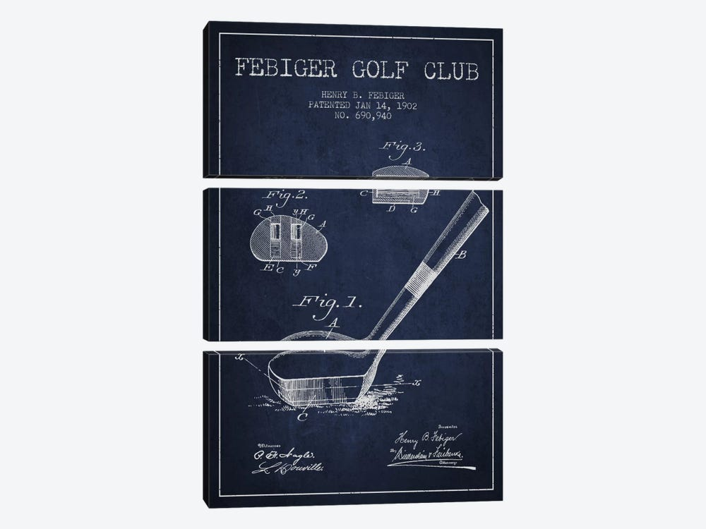 Febiger Golf Club Navy Blue Patent Blueprint by Aged Pixel 3-piece Canvas Wall Art
