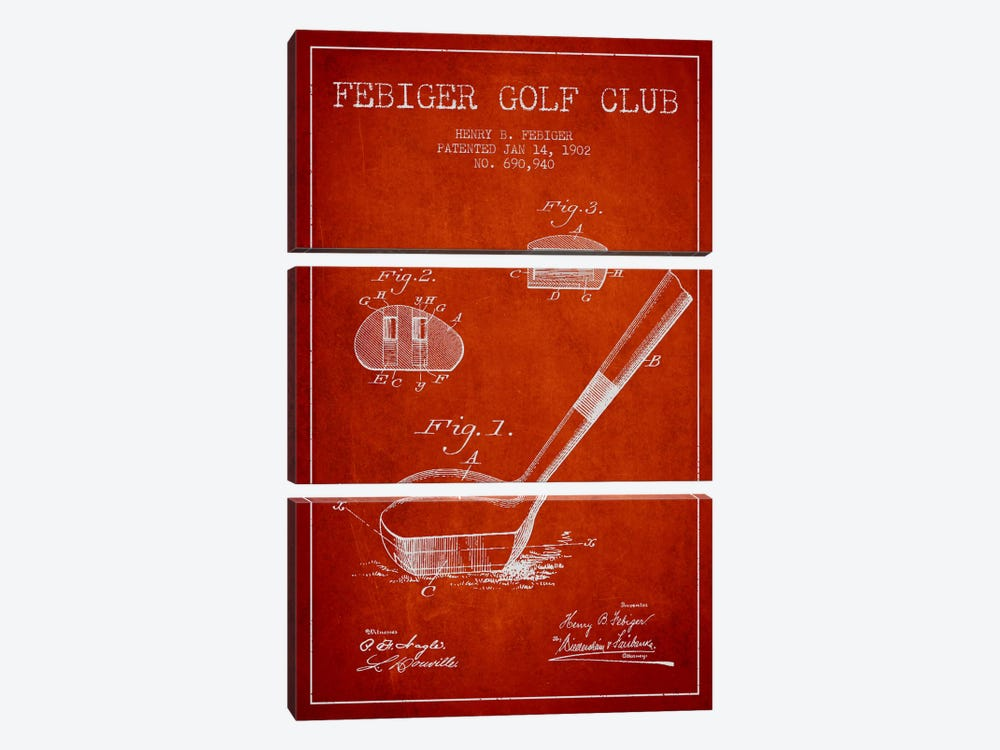 Febiger Golf Club Red Patent Blueprint by Aged Pixel 3-piece Canvas Print