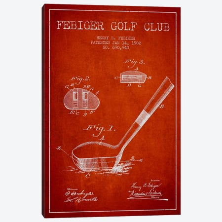 Febiger Golf Club Red Patent Blueprint Canvas Print #ADP2173} by Aged Pixel Canvas Art