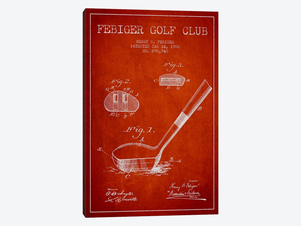 Febiger Golf Club Red Patent Blueprint by Aged Pixel 1-piece Art Print