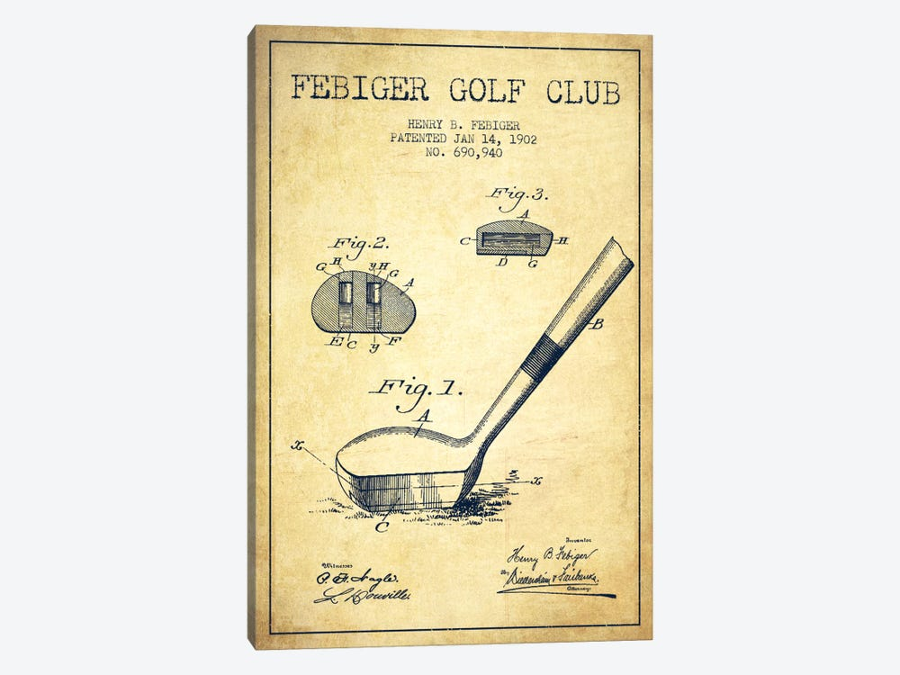 Febiger Golf Club Vintage Patent Blueprint by Aged Pixel 1-piece Canvas Artwork