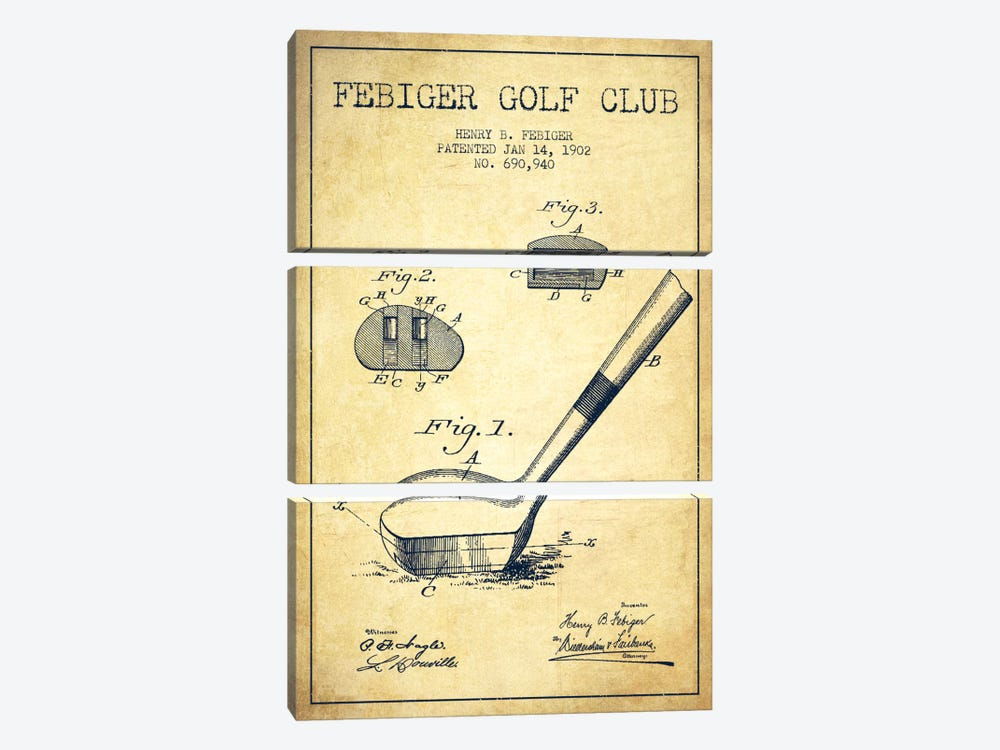 Febiger Golf Club Vintage Patent Blueprint by Aged Pixel 3-piece Canvas Art
