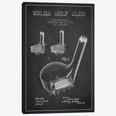Mules Golf Club Charcoal Patent Blueprint Canvas Print #ADP2175} by Aged Pixel Canvas Print