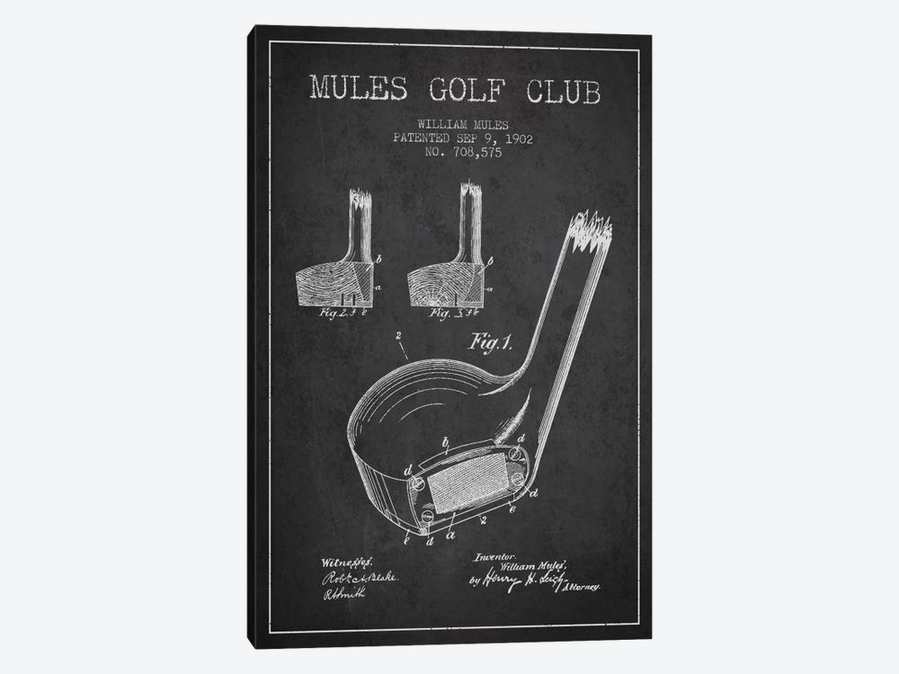 Mules Golf Club Charcoal Patent Blueprint 1-piece Canvas Art Print