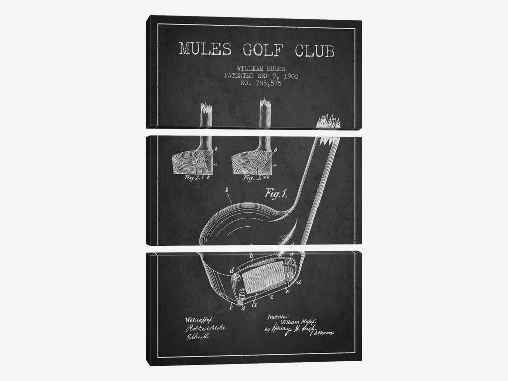 Mules Golf Club Charcoal Patent Blueprint by Aged Pixel 3-piece Art Print