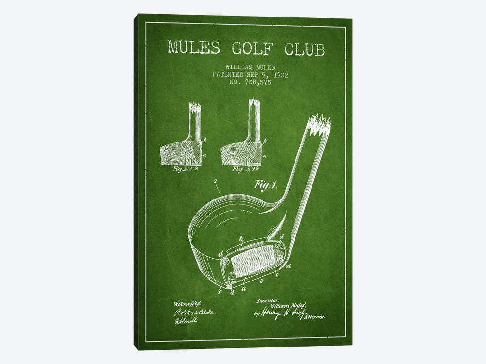 Mules Golf Club Green Patent Blueprint by Aged Pixel 1-piece Canvas Artwork