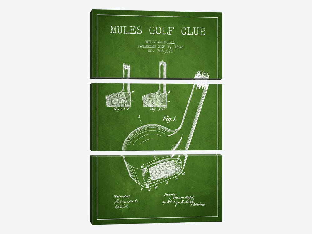 Mules Golf Club Green Patent Blueprint 3-piece Canvas Artwork