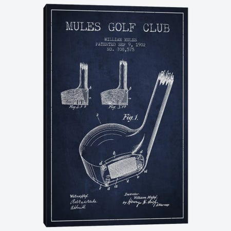 Mules Golf Club Navy Blue Patent Blueprint Canvas Print #ADP2177} by Aged Pixel Canvas Art Print