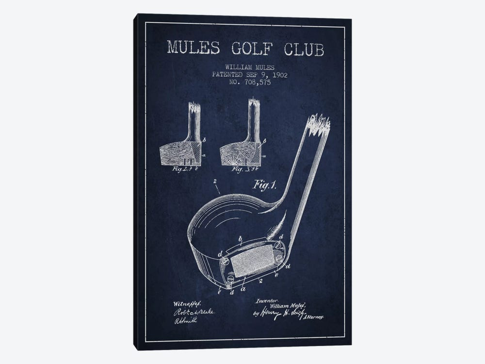 Mules Golf Club Navy Blue Patent Blueprint by Aged Pixel 1-piece Canvas Art Print