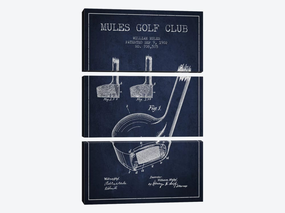 Mules Golf Club Navy Blue Patent Blueprint by Aged Pixel 3-piece Canvas Print