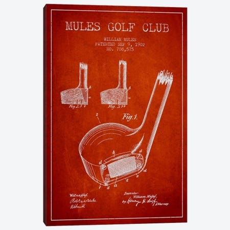 Mules Golf Club Red Patent Blueprint Canvas Print #ADP2178} by Aged Pixel Canvas Art