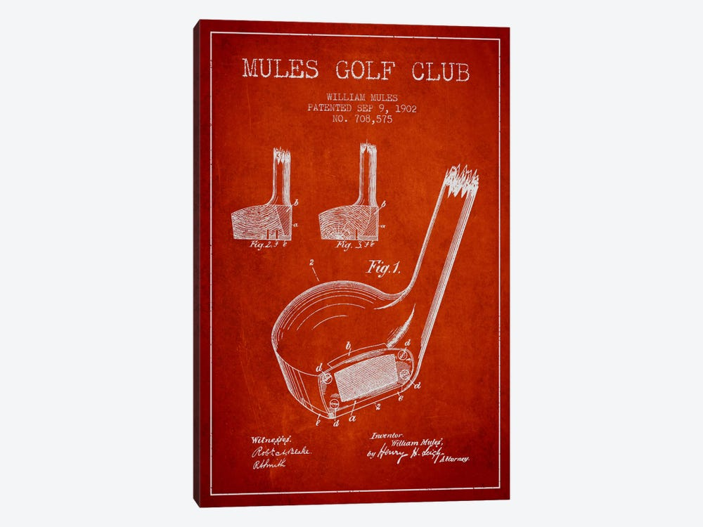 Mules Golf Club Red Patent Blueprint by Aged Pixel 1-piece Canvas Art