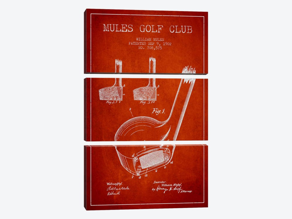 Mules Golf Club Red Patent Blueprint by Aged Pixel 3-piece Canvas Artwork