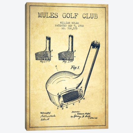 Mules Golf Club Vintage Patent Blueprint Canvas Print #ADP2179} by Aged Pixel Canvas Wall Art