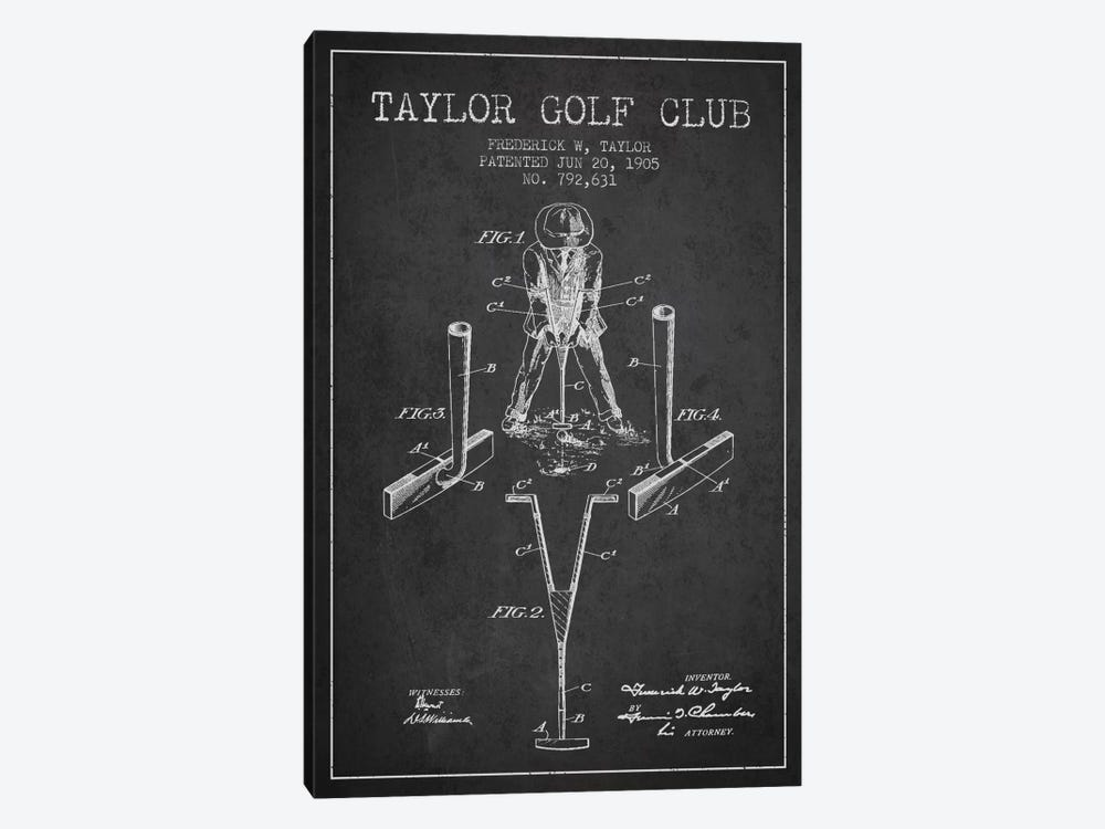 Taylor Golf Club Charcoal Patent Blueprint by Aged Pixel 1-piece Canvas Print