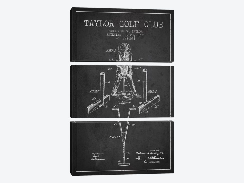Taylor Golf Club Charcoal Patent Blueprint by Aged Pixel 3-piece Canvas Print