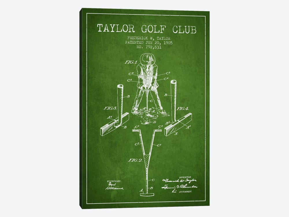 Taylor Golf Club Green Patent Blueprint by Aged Pixel 1-piece Canvas Art