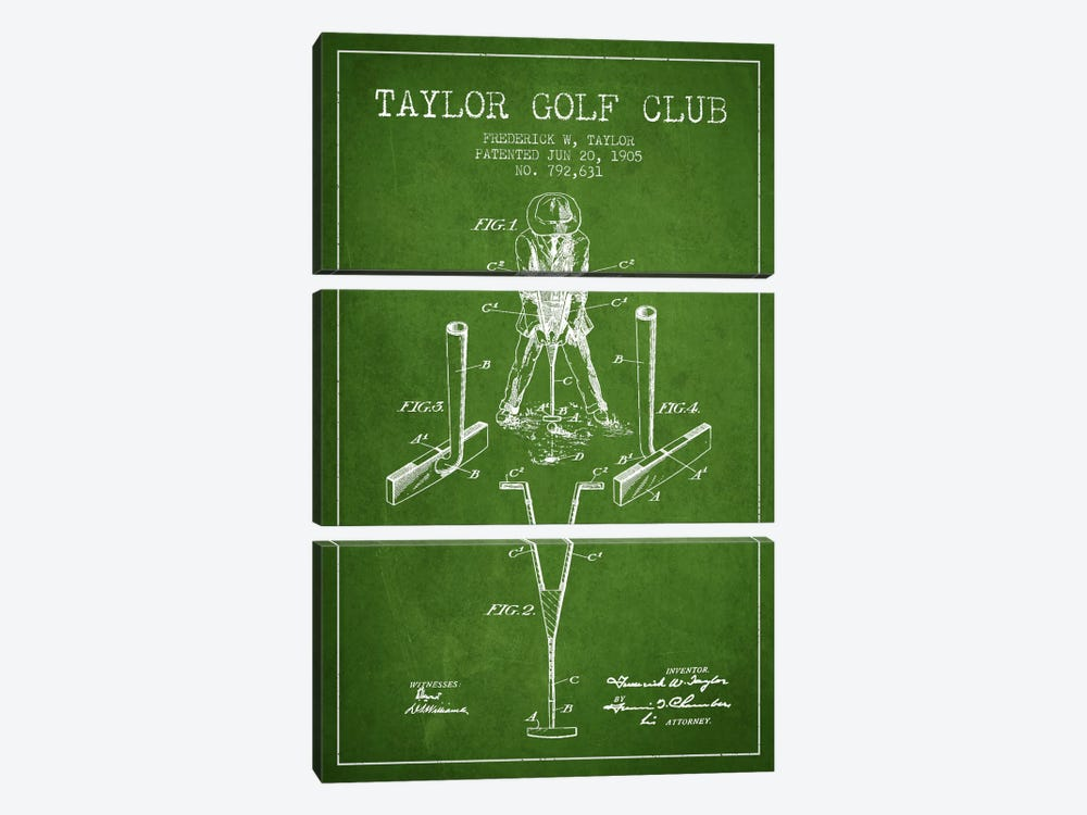 Taylor Golf Club Green Patent Blueprint by Aged Pixel 3-piece Canvas Art