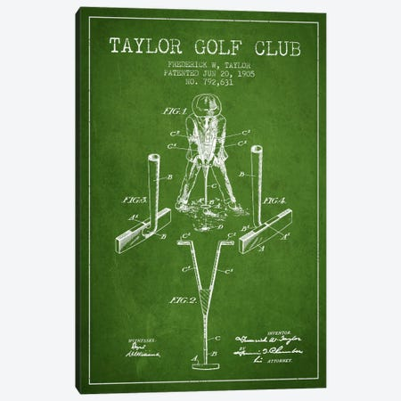 Taylor Golf Club Green Patent Blueprint Canvas Print #ADP2181} by Aged Pixel Art Print