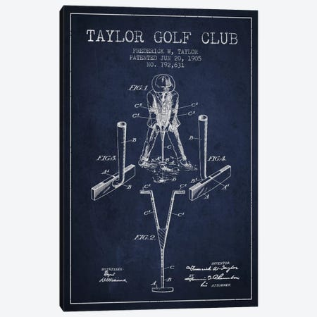 Taylor Golf Club Navy Blue Patent Blueprint Canvas Print #ADP2182} by Aged Pixel Art Print