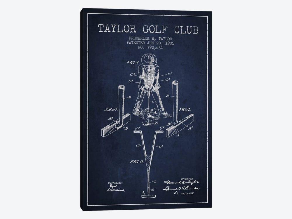Taylor Golf Club Navy Blue Patent Blueprint by Aged Pixel 1-piece Canvas Art Print