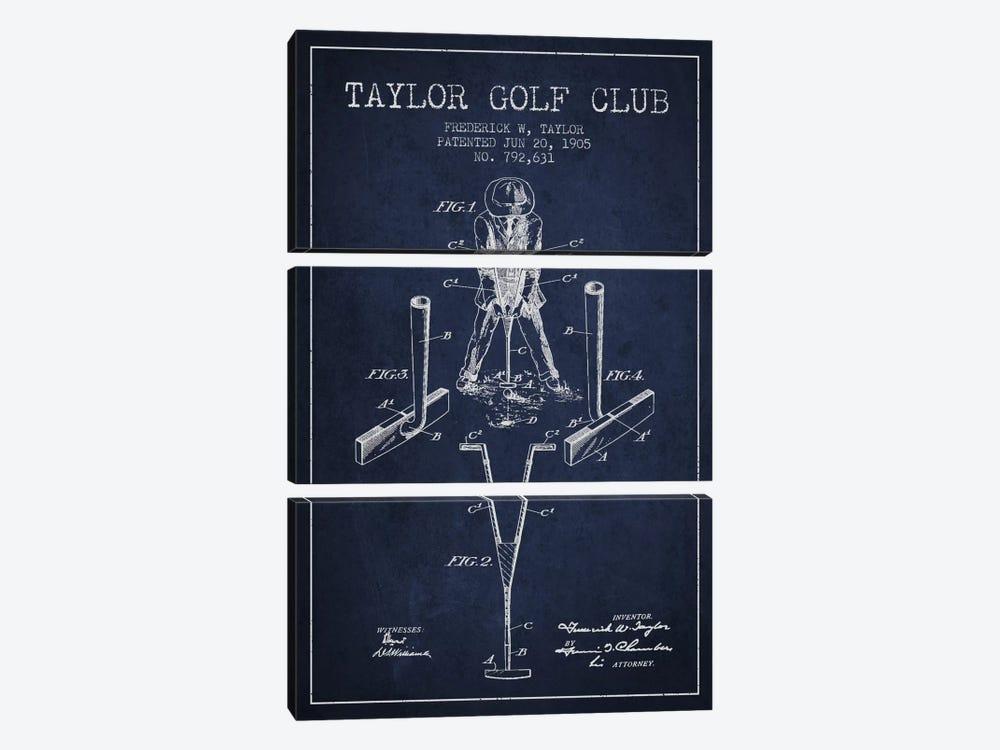 Taylor Golf Club Navy Blue Patent Blueprint by Aged Pixel 3-piece Art Print