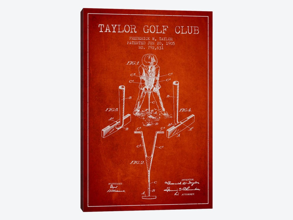Taylor Golf Club Red Patent Blueprint by Aged Pixel 1-piece Canvas Wall Art