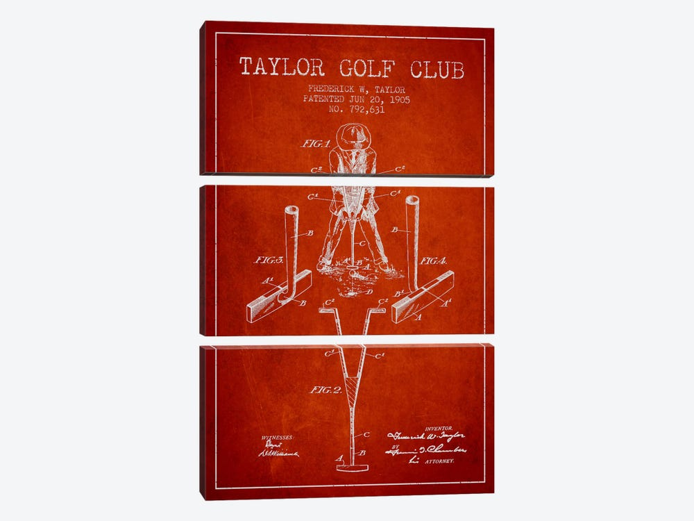 Taylor Golf Club Red Patent Blueprint by Aged Pixel 3-piece Canvas Art