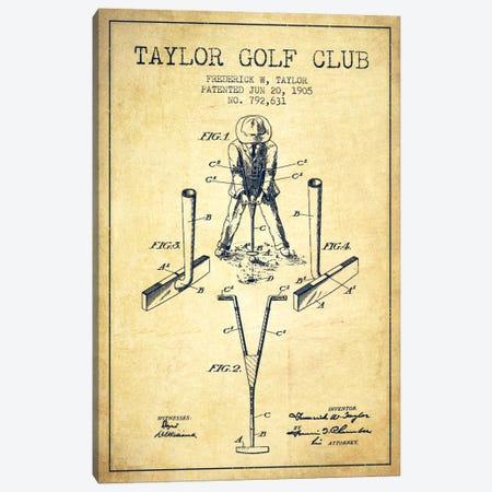 Taylor Golf Club Vintage Patent Blueprint Canvas Print #ADP2184} by Aged Pixel Canvas Art