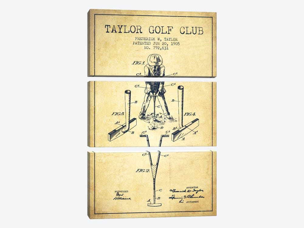 Taylor Golf Club Vintage Patent Blueprint by Aged Pixel 3-piece Canvas Art Print