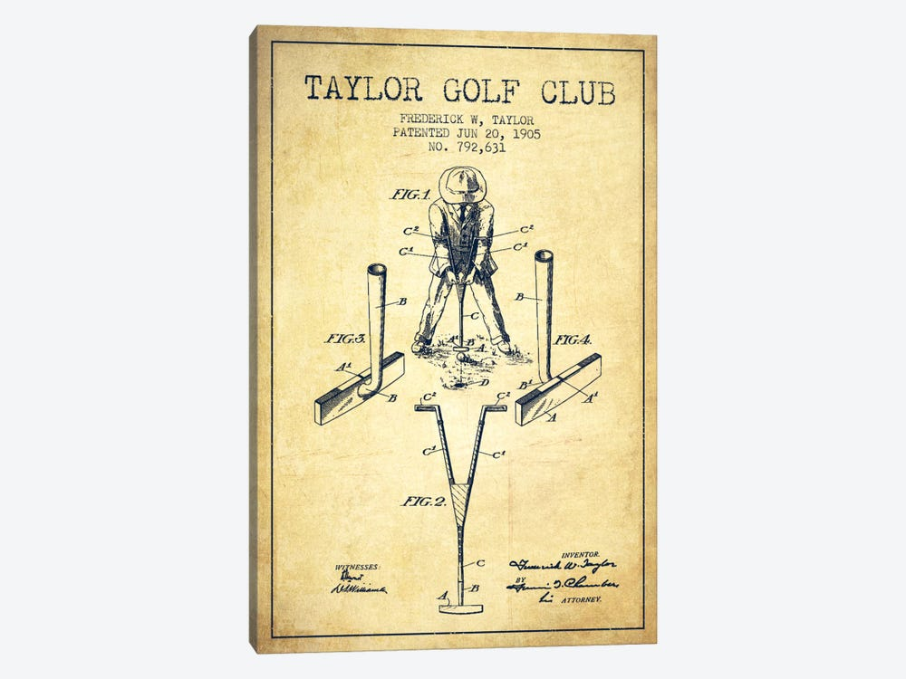 Taylor Golf Club Vintage Patent Blueprint by Aged Pixel 1-piece Art Print