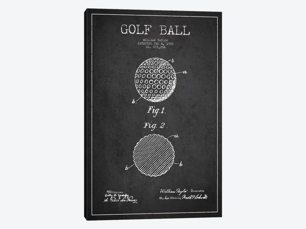 Golf Ball Charcoal Patent Blueprint by Aged Pixel 1-piece Canvas Art
