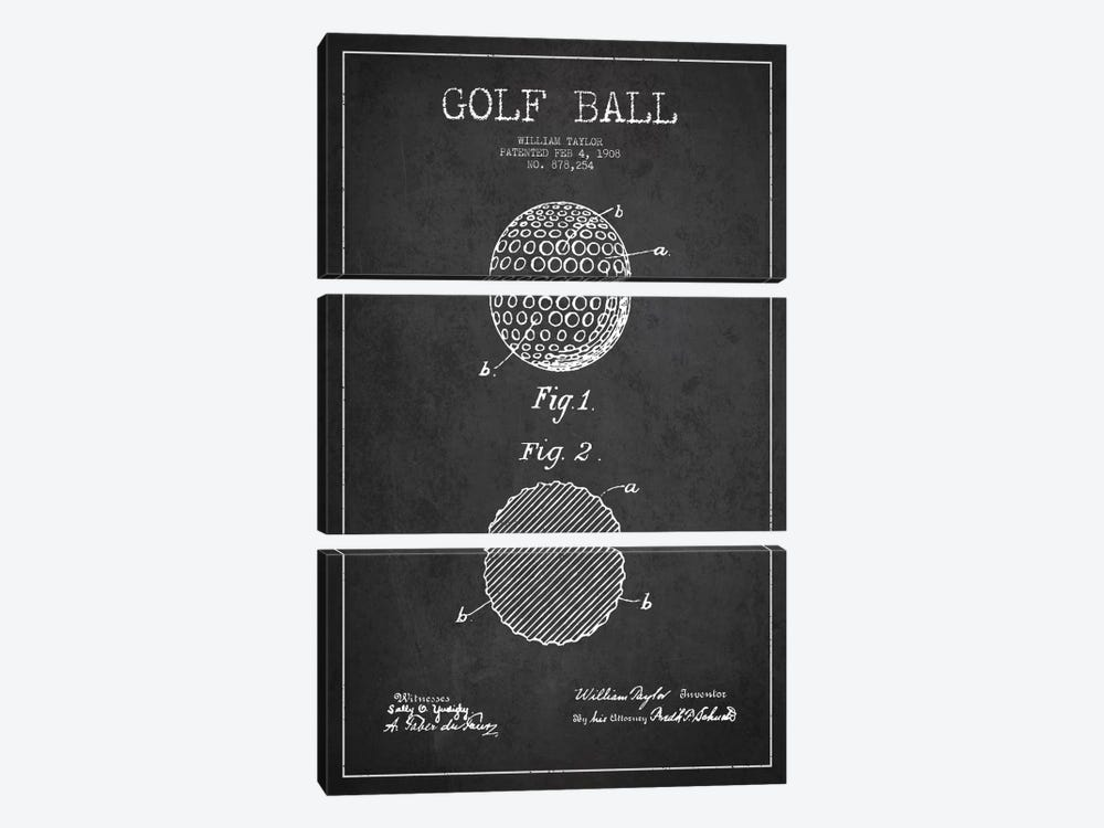 Golf Ball Charcoal Patent Blueprint by Aged Pixel 3-piece Canvas Art