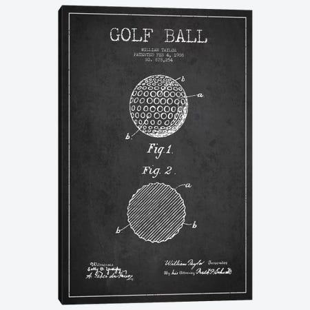 Golf Ball Charcoal Patent Blueprint Canvas Print #ADP2185} by Aged Pixel Canvas Artwork