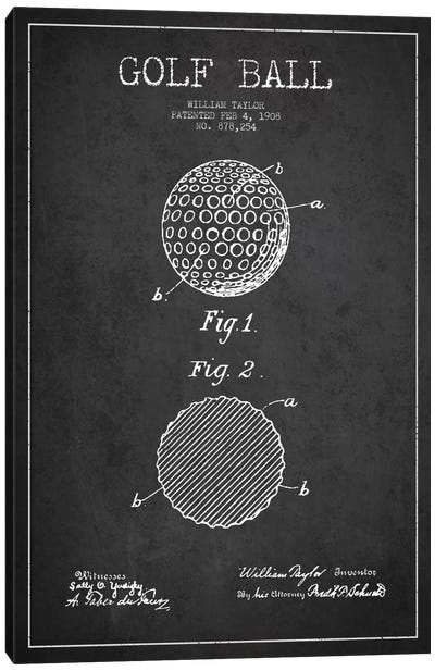 Golf Ball Charcoal Patent Blueprint Canvas Art Print