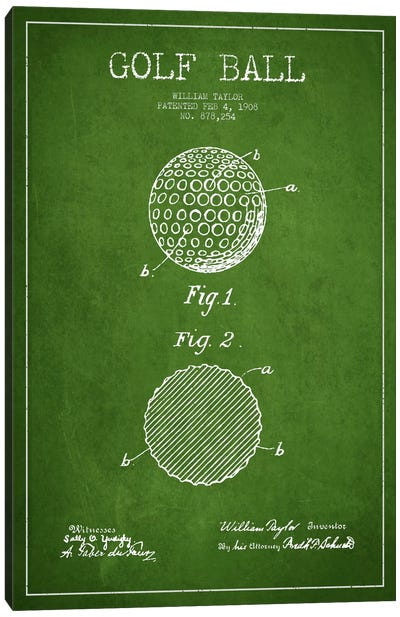 Golf Ball Green Patent Blueprint Canvas Art Print