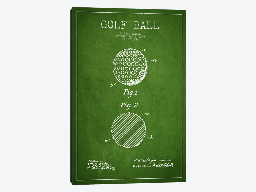 Golf Ball Green Patent Blueprint by Aged Pixel 1-piece Canvas Print
