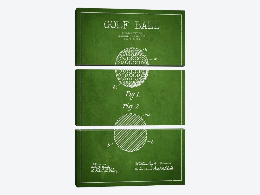 Golf Ball Green Patent Blueprint by Aged Pixel 3-piece Art Print