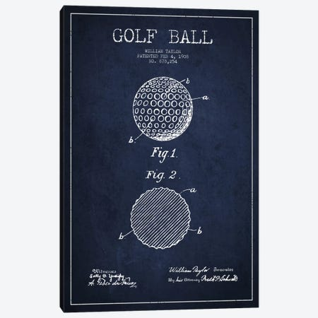 Golf Ball Navy Blue Patent Blueprint Canvas Print #ADP2187} by Aged Pixel Canvas Art